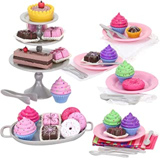 Sophia's Treats for 18 inch Dolls Include a Complete Dessert Set with Miniature Cupcakes, Donuts, Petit Fours, Plats, Utensils and More