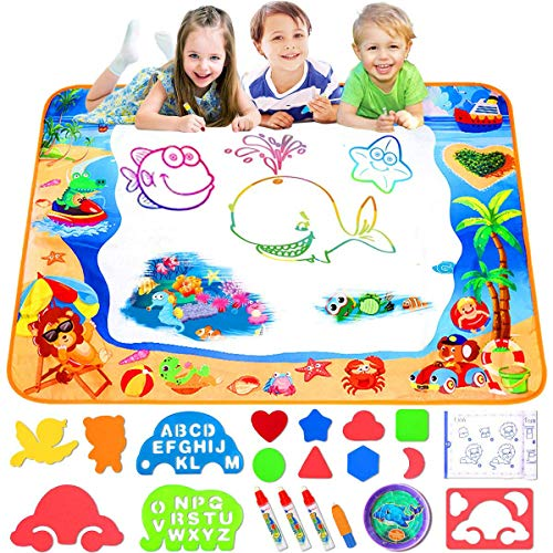 FOYOKEN Water Doodle Mat Magic Drawing Mat Birthday Gifts Kids Toddler Toys for 2 3 4 5 6 Years Old Girls Boys Painting Writing Educational Learning Activities Large Size 40 x 28 Inch