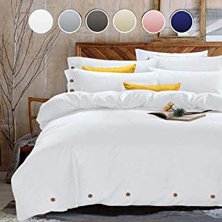 NANKO Duvet Cover Set Queen, 3 Piece - 1200 TC Hotel Luxury Microfiber Down Comforter Quilt Bedding Cover with Deco Buttons, Zipper, Ties - Best Modern Style for Men and Women, White