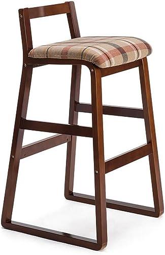 artículos novedosos Silla Rollsnownow Beige rojo Lattice Cushion Cushion Cushion marrón Marco de Madera Modern Home Bar Madera Maciza High Stool Retro Bar Chair High Taburete (Talla   High 77cm)  promociones de equipo