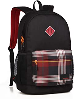 ASPENSPORT School Backpacks Men Small Cute Fashion College Bookbags Lightweight Stylish for High Middle School Boys Teen Girls Outdoor Rucksacks (Black/Checked)