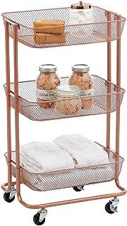 mDesign chariot – meuble à roulettes compact pour l'ensemble de la maison – bacs de rangement avec 3 étagères en métal – r...