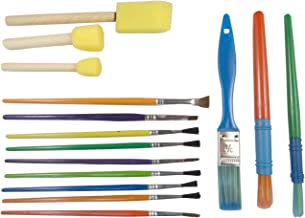 KABEER ART Set of 15 Paint Brushes of Various Sizes and Varieties for Painting – Bristle Brushes & Foam Brushes (Colors May Vary)