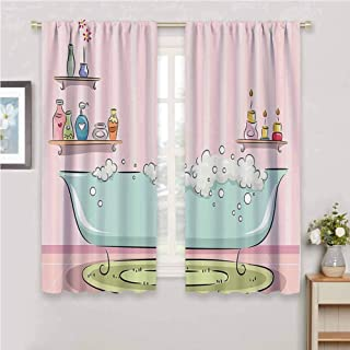 teens girls women decor Collection Premium blackout curtains Illustration of Bathtub with Bubbles in Girly Room Aroma Oil Lamps Aromatherapy Kindergarten noise reduction curtains W84 x L84 Inch Pink