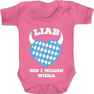 ShirtStreet Gaudi Wiesn Strampler Bio Baumwoll Baby Body kurzarm Jungen Mädchen Oktoberfest - Liab bin i moagn wieda
