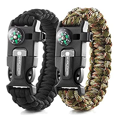 X-Plore Gear Emergency Paracord Bracelets   Set of 2  The Ultimate Tactical Survival Gear  Flint Fire Starter, Whistle, Compass & Scraper   Best Wilderness Survival-Kit - Black(M)/Camo(M)