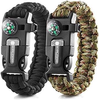 2-Pack X-Plore Gear Emergency Paracord Bracelets