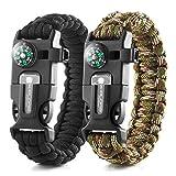 X-Plore Gear Emergency Paracord Bracelets | Set of 2| The Ultimate Tactical Survival Gear| Flint Fire Starter, Whistle, Compass & Scraper | Best Wilderness Survival-Kit - Black(K)/Camo(K)