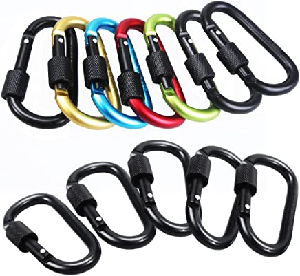 Sahara Sailor 12PCS Locking Carabiner Aluminum D-Ring Keychain Clip for Home Camping Fishing Hiking and Traveling