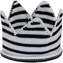 Fan-Ling Newborn Kids Caps Crown Knitted Birthday Hat Photography Accessories, Kids Adult Birthday Hats Cap,Children's Birthday Crown Cake Cap,Crown Prince Princess Party Decoration (Black)