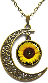 Crescent Moon Necklace,Sunflower pendant , Yellow Sunflower necklace , sunflower jewelry ,spring jewelry, yellow flower gift idea for friends , family