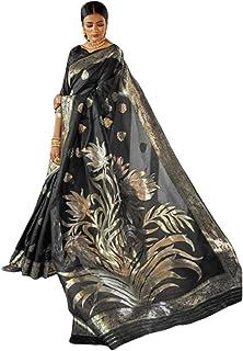 بلوزة ساري هندي ناعمة من الحرير الكريستال الجميل بنمط Zari Motif Pallu Sari نسائية للمناسبات والحفلات 6063