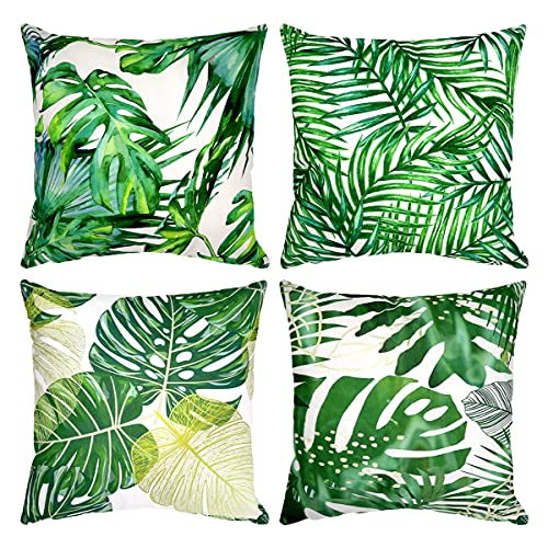 4er Set Dekorativ Kissenbezug Geometrische Muster, Sofa Büro Dekor Kissenhülle aus Baumwoll und Leinen (Grün Pflanze, 50X50cm)