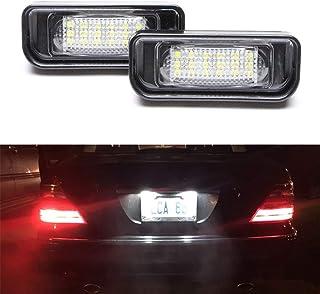 MOLEAQI 2 Piezas Blanco 18SMD luz de matrícula led para M-ercedes B-ENZ W220 S Clase S320 S350 S500 S55 S600 S65 Fuente de...