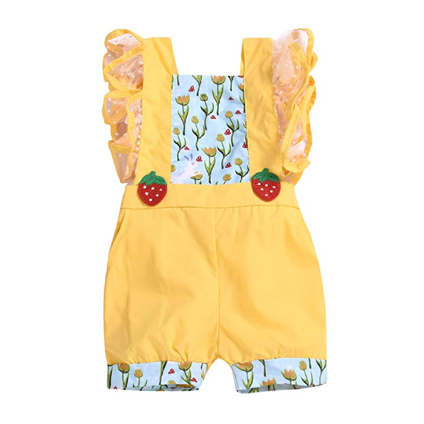 Toddler Baby Girls Romper Infant One Piece Ruffle Floral Spliced Sleeveless Bodysuit Jumpsuit with Tulle Polka Dot