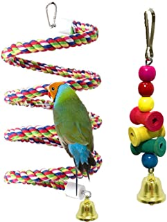 Coppthinktu Bird Perch, Bird Cage Toys with Bell, 2 Pack Rope Bungee Bird Toys with Brightly Colored Chew Toy, Cage Climbi...