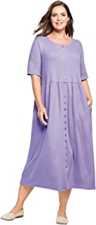 Woman Within Women's Plus Size Petite Button-Front Essential Dress