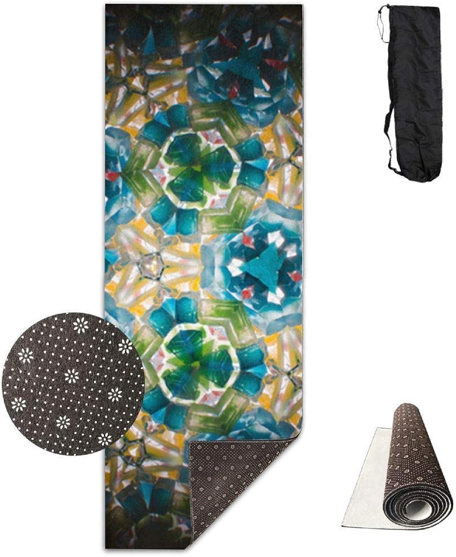 70Inch Long 28Inch Wide Comfort Velvet Yoga Mat, Karleidoscope Mat Carrying Strap & Bag
