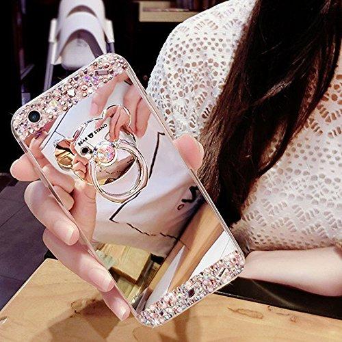 HMTECH Galaxy J4 Plus 2018 Funda Bling Glitter Silicona TPU Cromado Espejo Mirror Suave Flexible Shockproof Slim Lujo Cuero Carcasas Caso para Samsung Galaxy J4 Plus 2018,Silver Bear Mirror TP