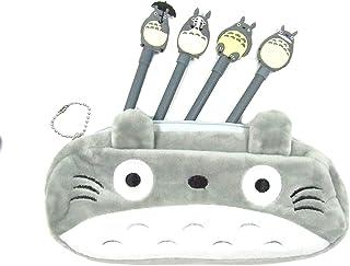 Totoro Pen Bag Pencil Case with 4 Totoro Pencils (Color : A)