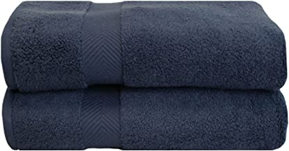 Superior Zero Twist 100% Cotton Bath Sheet Towels, Super Soft, Fluffy, and Absorbent, Premium Quality Oversized Bath Sheet Set of 2 - Midnight Blue, 34