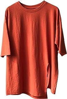 UUGYE Women's 1/2 Sleeve Split Solid Round Neck Tee Stylish Blouse Top T-Shirts