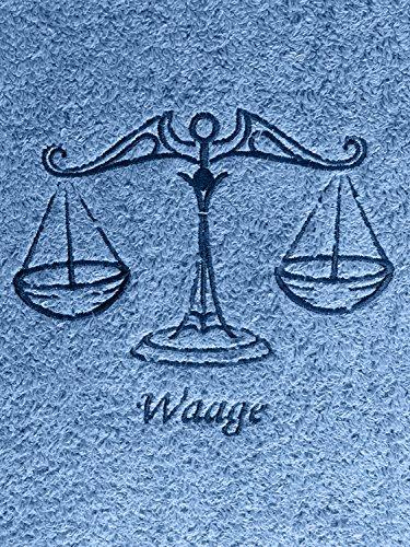 Duschtuch mit Sternzeichen 10 Waage (Geburtstag 24.09. - 23.10.), hochwertig bestickt, 70x140cm, Farbe: Fjord/Blau, Stickfarbe Tierkreiszeichen: Blau