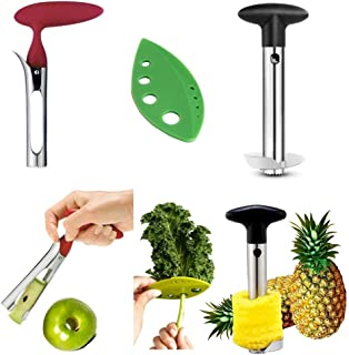 Apple Corer + Pineapple Tool + Herb Kale Stripper- Lever Tool by BRIGHT KITCHEN Stainless Steel Pear Fruit Seed Remover Ch...