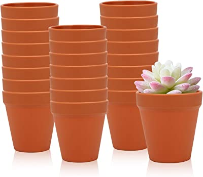 3.5 Inches / 24 pcs Plastic Plant Pots, Gardening Containers, Planters, Perfect for Indoor and Outdoor Decoration, Garden, Kitchen, Flower, Succulents (Yellow)