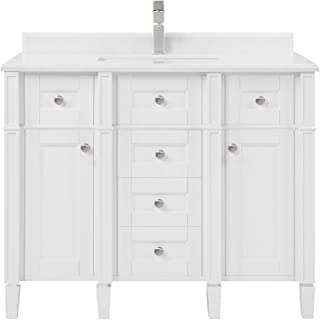 Ove Decors Portland 42 in. Bathroom Vanity Freestanding Cabinet Single Sink with Cultured Marble Countertop, 42 inches, White