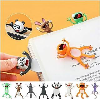8PCS Cartoon Bookmark Funny Animal Bookmark Toy Gifts for Kids Students (panda+dog+cat+mouse+gecko+rabbit+wolf+donkey, 8pcs)
