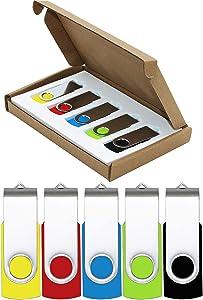 MECHEER Flash Drive 64GB USB Flash Drives 5 Pack USB 2.0 Thumb Drive Jump Drive Pen Drive Bulk Memory Sticks Zip Drives Swivel Design Yellow/Red/Blue/Green/Black (5 Pcs Mixed Color)