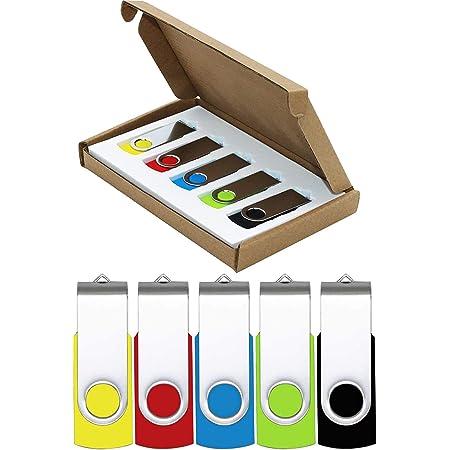 Flash Drive 64GB USB Flash Drives 5 Pack USB 2.0 Thumb Drive Jump Drive Pen Drive Bulk Memory Sticks Zip Drives Swivel Design Yellow/Red/Blue/Green/Black (5 Pcs Mixed Color)