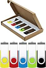 Flash Drive 64GB USB Flash Drive 5 Pack USB 2.0 Thumb Drive Jump Drive Pen Drive Bulk Memory Sticks Zip Drives Swivel Design Yellow/Red/Blue/Green/Black (5 Pcs Mixed Color)