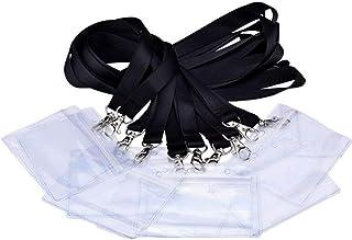Xinlie Strap Lanière Tour de Cou Porte-Badge Lanière Noire Porte-Badge en Plastique Imperméable Clear Porte-Badge Avec Por...