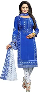 Rensila Fab Women French Crepe Dress Material (RFO_Mithali Blue_D_Blue_Free Size)