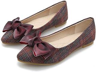 [ノーブランド品] パンプス フラットシューズ レディース リボン飾り とんがり 赤 ベージュ ブラック 美脚 軽量 歩きやすい 疲れにくい 柔らかい ぺたんこ カジュアル OL 通勤 通学 二次会 婦人靴 20.5-26.5CM