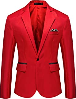 YOUTHUP Mens Lightweight Blazer 1 Button Slim Fit Suit Jacket Party Casual Chic Smart Blazers