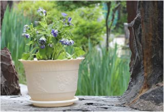 HENGTONGTONGXUN Flowerpot lotus-shaped resin plastic plant flowerpot to send tray potted green plant pot (Color : Beige, Size : 19cm)