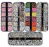 Ranvi 3000 pièces (5 boîtes) Kit strass nail art Kit strass ongles avec 1 pièce, cloutés multicolores strass en œil de cheval pour fournitures de décorations d'ongle