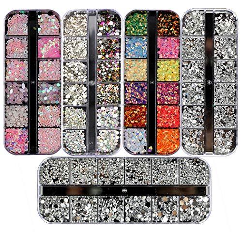 Ranvi 3000 Piezas (5 Cajas) Kit de diamantes de imitación de arte de uñas Piedras de diamante de imitación con 1 pieza, para suministros de decoración de arte de uñas