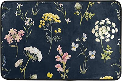 Mydaily Watercolor Floral Delicate Flower Pansies Doormat 15.7 x 23.6 inch, Living Room Bedroom Kitchen Bathroom Decorative Lightweight Foam Printed Rug