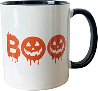 Ceramic 11 oz Coffee mug Halloween Pumpkin, double sided design for right and left-handed, microwave and dishwasher safe, ...