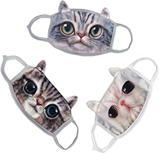 Unisex Cute Vivid 3D Cartoon Cat Breathable Anti Dust Fleece Velvet Face Mouth Gauze Mask Cover Respirator with Ear Loops Winter Face Ears Warmer, Christmas Gift, 3Pcs