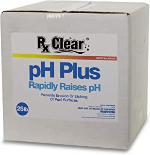 Rx Clear Swimming Pool pH Plus   Rapid Raises pH Levels   Quickly Correct Acidic Water Conditions   Water Balancer   Prevents Erosion Or Etching of Pool Surfaces   25 Pounds