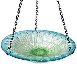 Bits and Pieces - Hanging Flower Petal Birdbath - Glass Flower Hanging Birdbath and Feeder - Outdoor Décor