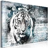murando Cuadro en Lienzo Tigre 90x60 cm Impresión de 1 Pieza Material Tejido no Tejido Impresión Artística Imagen Gráfica Decoracion de Pared Animales Vintage Abstracto Gris Azul g-C-0341-b-a