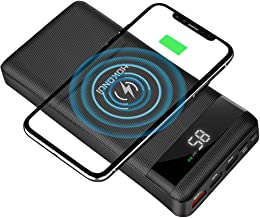 HOKONUI Wireless Portable Chargers, 10W Qi Fast Charge 20000 mAh Power Bank 5 Output USB Type-C LCD Display High Capacity External Battery Pack for Cell Phones, iPhone, Ipad, Samsung Galaxy and More