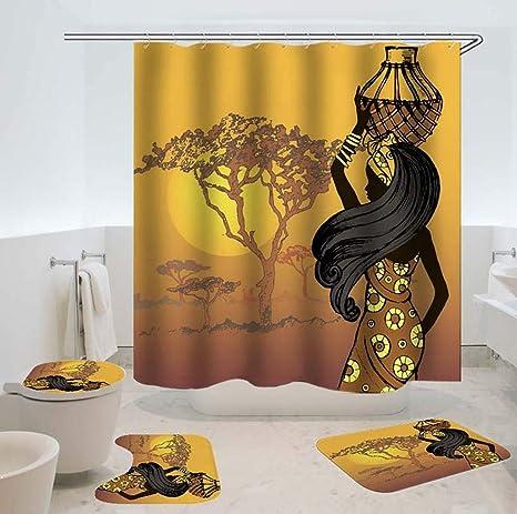 Shower Curtain Desert Tree Non Slip Toilet Polyester Cover Mat Set Bathroom