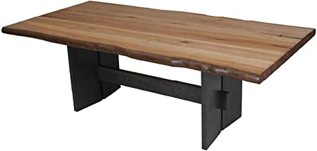 Marquette Live Edge Dining Table with Trestle Base Natural Honey and Charcoal